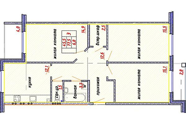 Продажа 2комнатной квартиры в ЖК Шуваловский общей