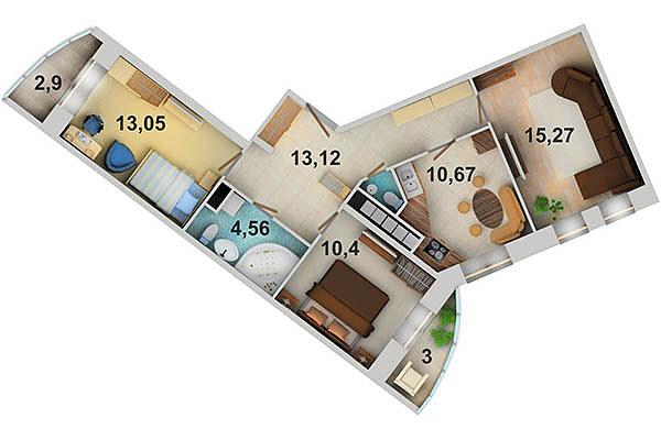 4 комнатную квартира в Парнас